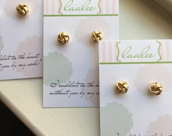 Tie the Knot Earrings, Gold Knot Earrings Love Knot Stud Earrings Dainty Bridesmaid Gift Knot Jewelry Gold Stud Earrings Bridesmaid Earrings
