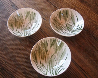 """3 Homer Laughlin American Wheat Green on White 5"""" Berry Desert Bowls Made in USA 1956"""