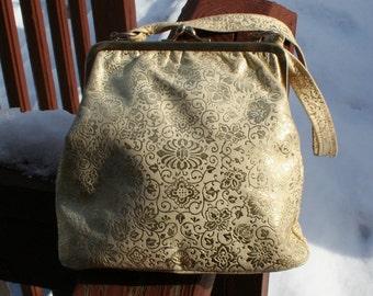 1960s Purse Gold Floral Fabric Vintage