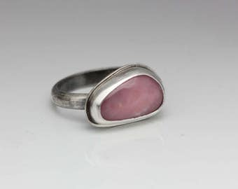 Pink Opal Ring, Opal & Sterling Ring, Unique Pink Ring, Artisan Ring, Le Chien Noir, Size 7.5