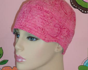 Chemo Hat Womens Cancer Hat  Pink Batik Includes Head Band. ( For Size Guide, see 'Item Details' below photos) SMALL/MEDIUM
