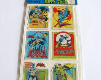 SALE Very Rare Vintage DC Comics Superheroes Puffy Batman Superman Stickers - New in the Package Robin Penguin Retro Comic Cartoon