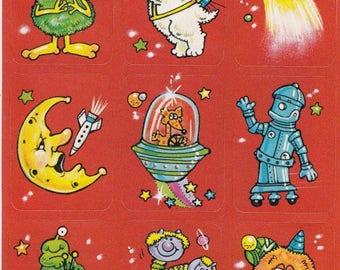 SALE Vintage Eureka Outer Space Sticker Sheet - 80's Alien Robot Moon Asteroid Puppy Dog Rocket Star Scrapbook Collage