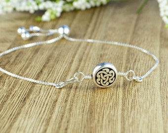 Celtic Knot Adjustable Sterling Silver Interchangeable Charm/Link Bolo Bracelet- Charm, Bracelet Chain, or Both