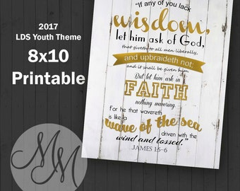 8x10 2017 Mutual Theme. If any of you lack wisdom. Gold Leaf. Digital. Value Colors. Arrows. Young Woman Printable