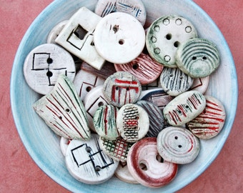 Ceramic buttons handmade stoneware small tan clay