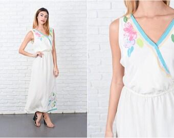 Cream Maxi Dress Vintage 80s  Painterly Floral Print Sleeveless Medium M 8438 cream dress maxi dress vintage dress floral dress medium dress