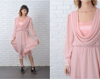 Vintage 80s Pink Midi Dress Puff Sleeve Sheer Slouchy Drape S M 9128