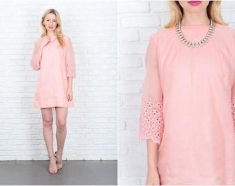 Vintage 60s Pink Mod Cutout Dress Lace Sheer Mini Shift Large L 9373