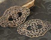 Large Vintage Brass Filigree Findings Oxidized Finish (2)