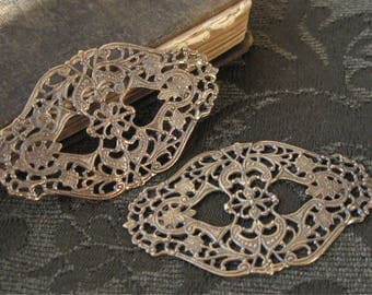 Large Vintage Brass Filigree Findings Oxidized Finish (2)