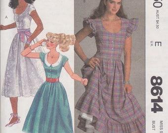 1984 Pretty Prairie Dress Brooke Shields Vintage Pattern, McCalls 8614, R. Lauren-ish, Full Skirt, Ruffles, Scoop Neck, Cap Sleeves, Buttons