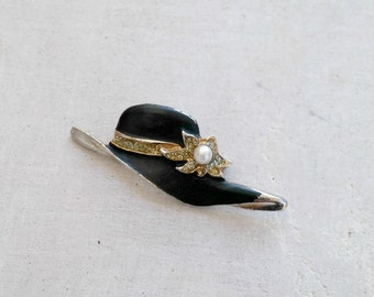 Vintage Enamel Hat Brooch, Black and White, Mid century Rhinestone Pearl Pin Brooch, Mad Men Mod jewelry 60s Fashion
