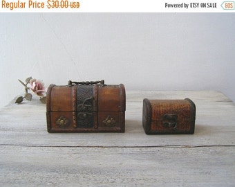Vintage Wood Trunk Boxes, Rustic Small Case Boxes Brown, Vanity Table Trinket Jewelry Box, Desk Organizer, Keepsake Treasure Craft Boxes