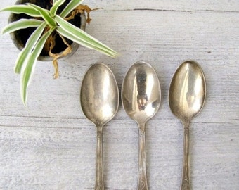 Antique 800 Silver Serving Spoons Set of 3, Mid century Victorian Silverware, Retro Cafe Spoons Photo prop, Vintage Utensils, Newlywed Gift