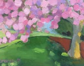 Cherry Tree Small Landscape Oil Painting on Canvas