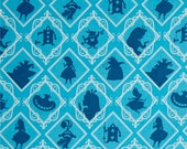"""End of Bolt- 48""""x44"""" (1 yard and 12 inches) Disney's Alice in Wonderland Characters in Frames on Topaz Blue"""