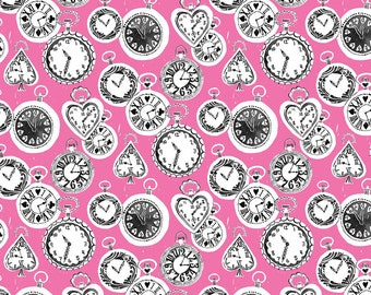 Late for a Date Pocket Watches on Pink from Blend Fabric's Wonderland Collection by Josephine Kimberling