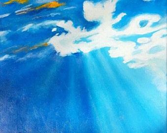 "Orginal Art  Rays before the Setting Sun 12 by 12"""