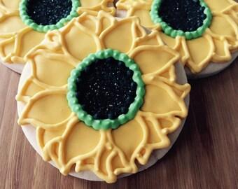 Sunflower Cookie, Sunflower Sugar Cookies, Sunflower Wedding, Baby Shower Favors, Bridal Shower Cookies, Birthday Sunflower Cookies(1 Dozen)