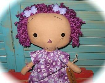 """Rag Doll PURPLE Hair- Purple Outfit-Raggedy Ann Annie Doll 15"""" OOAK Handmade*"""
