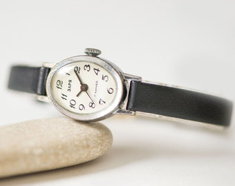 Oval woman's watch Dawn, silver shade lady watch oval, Soviet fashion petite watch, delicate woman's watch gift, premium leather strap new