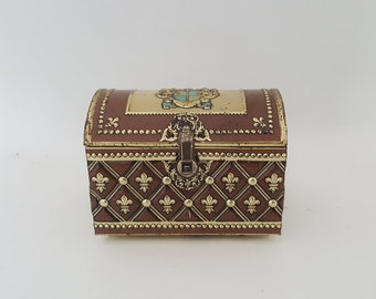 Vintage Pirate Treasure Chest Tin  Metal Treasure Box Vintage Faux Leather French Candy Tin Gold Fleur De Lis Enameled Teal Miltary Crest