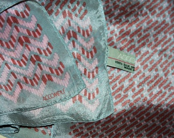"""ACCOMPLI Silk Scarf in Soft Pink and Silver Gray - Japan - 11 x 50"""" - Vintage"""