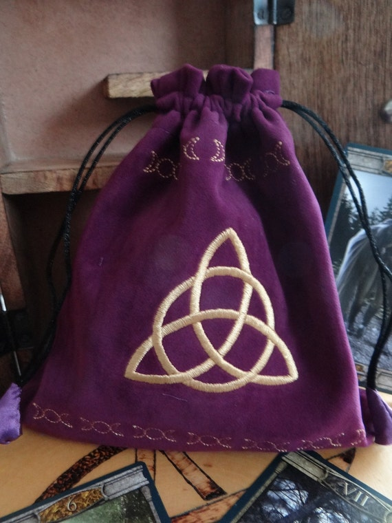Purple triquetra embroidered velvet bag wiccan pagan
