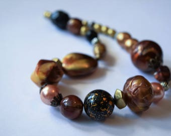 Chunky Butterscotch Amber Necklace Brown Gold Color Acrylic Beaded