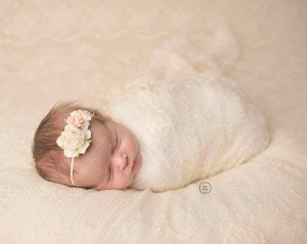 Peach and Ivory Headband, Newborn Headband, Rose Headband, Ivory Headband, Photo Prop, Headband, Pink Baby Headband, Flower Headband