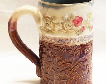 ceramic artisan floral coffee mug 16oz  stoneware 16D037