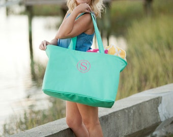 Large Monogrammed ULTIMATE Totes - Pool Bag - Summer Tote - Teacher Tote - Carryall Tote Bag - Trunk Organizing bag - Ultimate monogram bag
