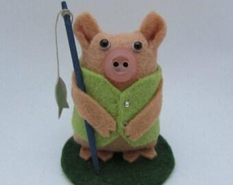 Fred the Fishing Pig - Fishing Cake Topper - Fishing Gift