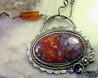 Asymmetrical Sterling Silver Amethyst Fire Agate Necklace