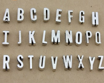a set of 26pc 11mm antiqued silver slide alphebet letters charms findings