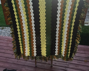 SALE! Vintage afghan blanket done in yellow, dark brown, mustard yellow or gold, green, and white in stripes, retro handmade, crochet,