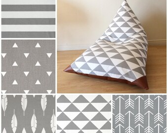 Choose Your Fabric! Kids Bean Bag - Pouf - Gray  and White - Child chair Triangles, Stripes, Feathers, Arrows in Gray