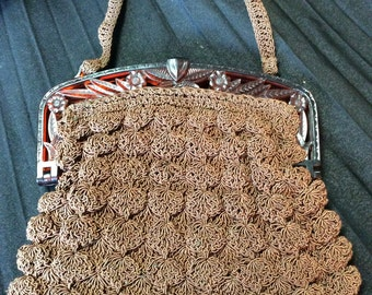 40's Charming Chocolate Cord Purse With Carved Lucite