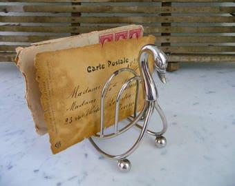 Vintage Letter Holder, French Letter Holder, French Silver Plate Swan Toast Rack, Desk Accessory, Business Card Holder, Desk Organizer