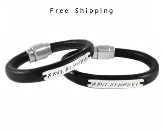 Engraved Bracelet, Sterling Silver ID, Men's Personalized Leather Jewelry, Gift for Him, Anniversary, Birthday, Friendship, Love