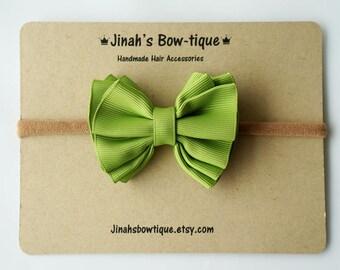Gathered Hair Bow -Kiwi- Hair Clip or Nylon Headband