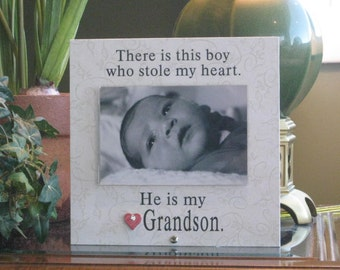 Grandson Gift, READY TO SHIP, Grandson Frame, Grandson Picture Frame, Grandson Photo Frame, 4x6 Photo, ceramic heart with crystal