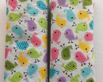 Multi -Coloured Birds-Car Seat Strap Covers/Stroller Strap Covers/Reversible Strap Covers
