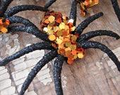 Set of 3 - Handmade Orange Glitter Halloween Spiders