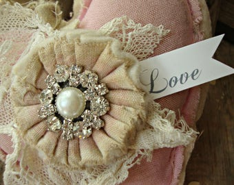 Vintage Lace Tattered Pink Heart with Rhinestone Pearl Accent and Love Tag