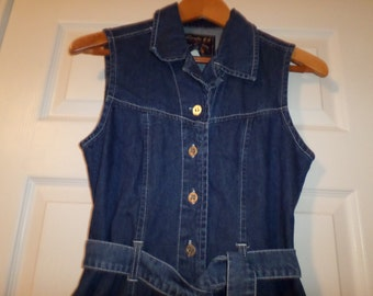 Vintage Jean Dress Top Small Sleeveless Belted Button Up