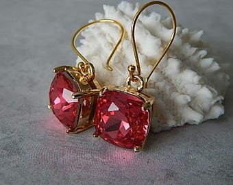 Ruby Earrings, Gold Swarovski Crystal Earrings, Bridesmaid Jewelry, Glamour Wedding Jewelry, Birthstone Earrings