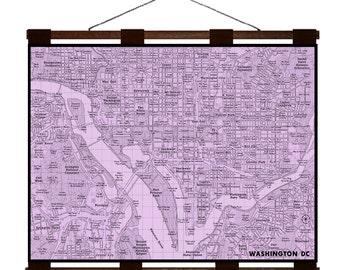 WASHINGTON DC Map 6E- Handmade Leather Wall Hanging - Various Colors