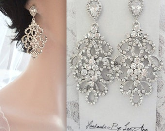 Chandelier earrings - Crystal earrings- Brides earrings, Wedding earrings, Sterling posts, Crystal statement earrings, Pageant earrings, MEG